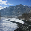 Mountain river in winter time — Foto Stock