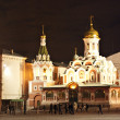 Kazan Cathedral in Red Square at night — Foto Stock