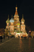 Cathedral of Vasily the Blessed at night on Red Square — Stock Photo