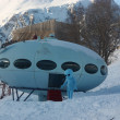 UFO at the ski resort — Stock Photo