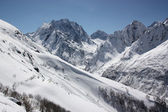 Winter landscape of a mountain valley — Stock Photo