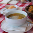 Bowl of soup and bread — Stok fotoğraf