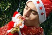 αγόρι με καπέλο χριστούγεννα — 图库照片
