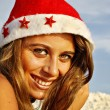 Girl, Christmas at sea — Stock Photo