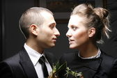 Romantic young couple in elegant — Stock Photo