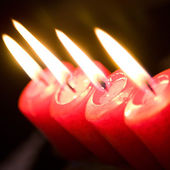 Christmas background with candles — Stock Photo