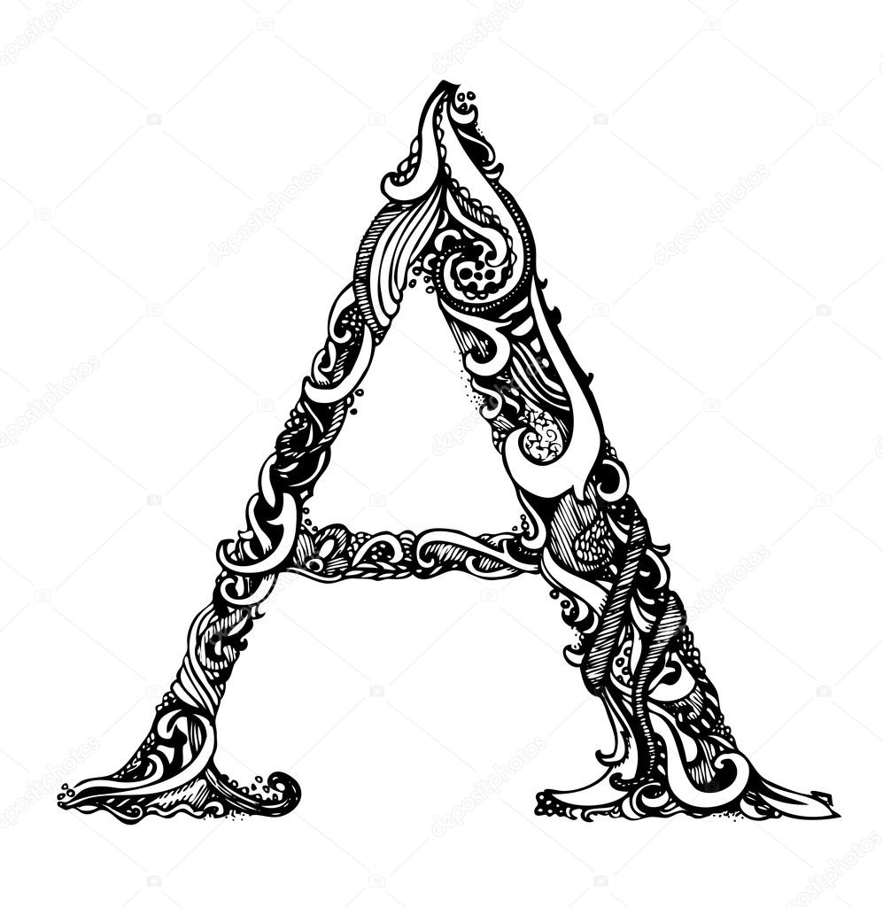 Capital Letters in Calligraphy Capital Letter a