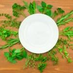 Fresh Herbs Collection as Border Around White Plate — Stock Photo #12459443
