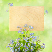 Wood Sign with Flowers / empty board for your text / on light-g — Stock Photo