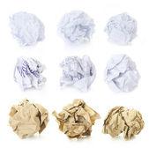 Buruşuk kağıt topları - squered, ofis ve kahverengi craft kümesi — Stok fotoğraf