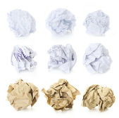 Set of Crumpled Paper Balls - Squered, Office and Brown Craft — Stok fotoğraf