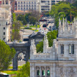Aerial view of Madrid  - Famous Alcala Gate, builldings and stre — Stock Photo
