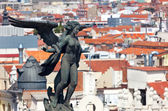 Aerial view of Madrid (Spain) - Famous Statue and roofs — Foto de Stock
