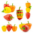 Colored Fresh Peppers - big Set - Different compositions - Isol — Stock Photo