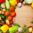 Fresh Organic Vegetables on wooden Table - Round — Stock Photo #28111937