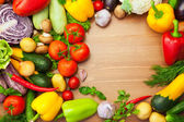 Fresh Organic Vegetables on wooden Table - Round — Stock Photo