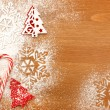 Christmas background with Candies, snowflakes and decorative Chr — Stock Photo