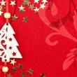 Red Christmas Background with Tree, Stars and Ornament — Stock Photo
