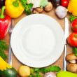 Organic Vegetables Around White Plate with Knife and Fork — Photo
