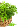 Collection of Fresh Spicy Herbs in Basket - isolated, Vertical — Stock Photo