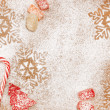 Christmas candy and sweet background with snowflakes and trees — Stockfoto