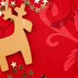 Red Christmas Background with Handmade Reindeer, Golden Stars an — Foto Stock