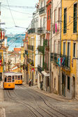 Two Lisbon's Gloria Funiculars - Portugal, Europe — Stock Photo