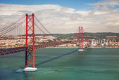 25th of April Suspension Bridge in Lisbon, Portugal, Eutope — Stock Photo