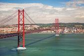 25th of April Suspension Bridge in Lisbon, Portugal, Eutope — Stock Photo