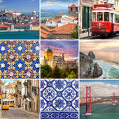 Portugese travel collage - The most famous places in Portugal, — Stock Photo
