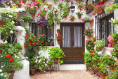Flowers Decoration of Vintage Courtyard, Spain, Europe — Stok fotoğraf