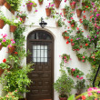 Spring and Easter Flowers Decoration of Old House, Spain, Europe — Stock Photo