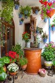 Courtyard with Flowers decorated and Old Well - Cordoba Patio Fe — Zdjęcie stockowe