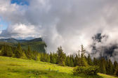Majestic fog and clouds in the  Mountain valley landscape - gree — Stock Photo