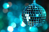 Blue disco ball on bokeh background - horizontal — Stock Photo