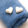 Blue towels and soaps — Stock Photo