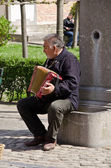 Street musician, Bruges, Belgium — Stock Photo