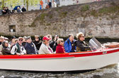 Tourists in boat, Bruges, Belgium — Stock Photo