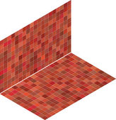 Red pink tile isometric mosaic backdrop — Stock Vector