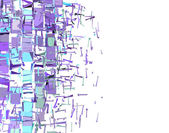 Abstract fragmented pattern in purple blue on white — Stock Photo