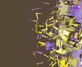 抽象零碎多维数据集模式紫色黄色背景 — 图库照片