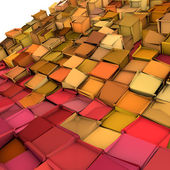Abstract 3d shape backdrop in pink yellow orange — Stock Photo