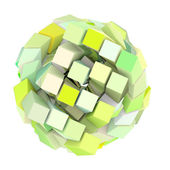 3d abstract cube ball shape in green yellow on white — Stock Photo