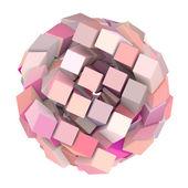 3d abstrakt kub boll form i rosa på vit — Stockfoto