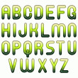 green glossy 3d child funny bubble alphabet — Stock Photo