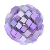 3d abstract cube ball shape in purple magenta on white — Stock Photo