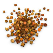 Abstract 3d orange brown cubic shape on white — Stock Photo