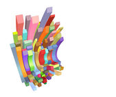 3d curved rectangular shapes in multiple color on white — Stock Photo