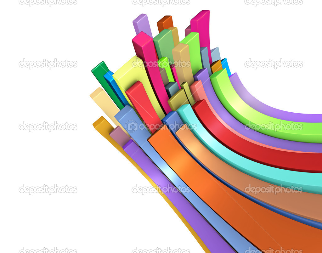 3d curved rectangular shapes in rainbow color on white — Stock Photo #12484688