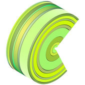 3d curved rectangular c shapes in green yellow on white — Стоковое фото